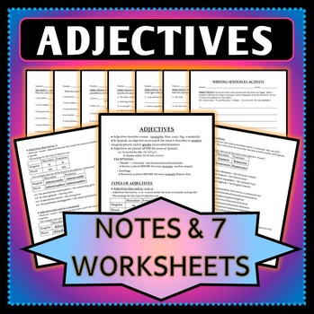 Adjective agreement french teaching resources teachers pay teachers spanish 1 adjective agreement notes worksheets and activity fandeluxe Images