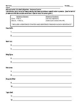 Spanish 1 - Adjective practice - Sentence Builder