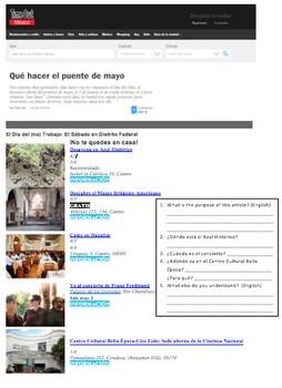 Spanish 1 Around Town/Events Proficiency Reading
