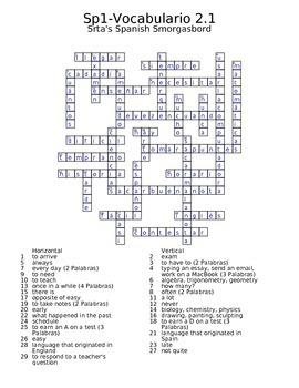 Spanish Avancemos 1 Vocab 2.1 Crossword