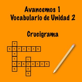 Spanish Avancemos 1 Vocab 2.2 Crossword