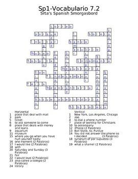 Spanish Avancemos 1 Vocab 7.2 Crossword