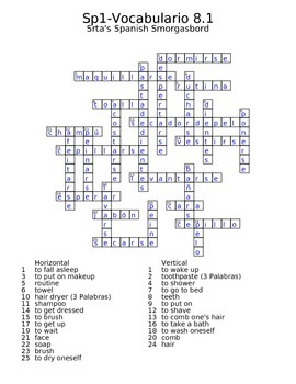 Spanish Avancemos 1 Vocab 8.1 Crossword