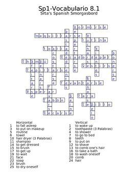 Spanish Avancemos 1 Vocab 8.1 Crossword