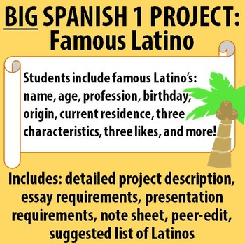 Spanish 1 - BIG Project! Famous Latino