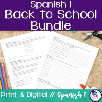 Spanish 1 Back to School Bundle