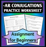 Spanish 1 - Basic Conjugation Practice Worksheet for -AR Verbs