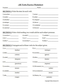 Spanish 1 - Basic Conjugation Practice Worksheet for -AR Verbs