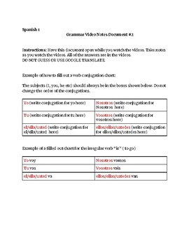 Spanish 1 Basics: Guided Video Notes # 2