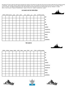Spanish 1 Battleship game - AR VERBS