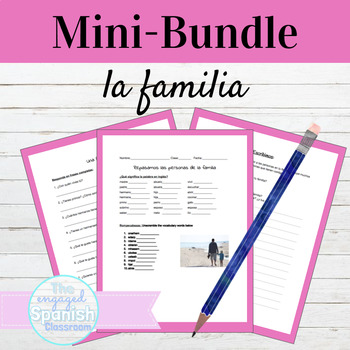 Spanish 1 Family Vocab MINI BUNDLE: Review, Interview, & Writing prompt,
