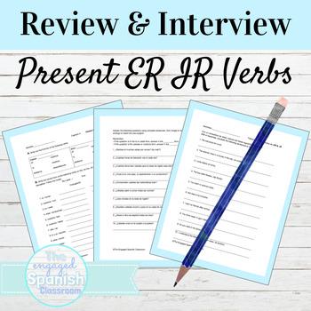 Spanish Present Tense ER and IR Verb Activities