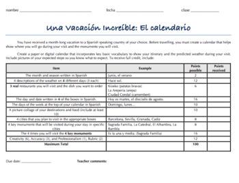 Spanish 1 Calendar Project: Una Vacacion Increible