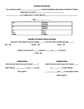 Spanish 1 Chapter 2B Realidades Notes Packet