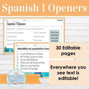 Spanish 1 Unit 1 Ser and Introductions Class Openers
