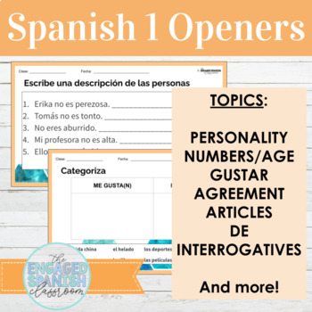 Spanish 1 Class Openers: Expresate 1 Chapter 2 (Gustar w/ Infinitives)