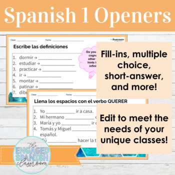 30 Spanish 1 Class Openers for Expresate 1 Chapter 3 (Gustar, AR verbs, + more)