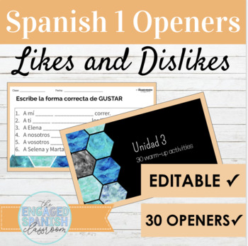 30 Spanish 1 Class Openers for Expresate 1 Chapter 3 (Gust