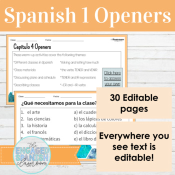 Spanish 1 Class Openers: Warm ups for Expresate 1 Chapter 4, (School + more)