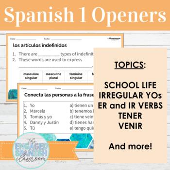Spanish 1 Openers School Vocab Activities