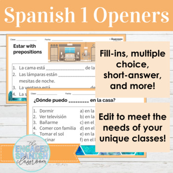 Spanish 1 Class Openers: Warm ups for Expresate 1 Chapter 5, House and Family