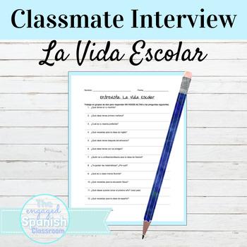 Spanish School Life Vocabulary Interview Activity