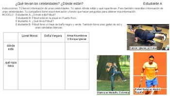 Spanish 1 Clothing, Activities and Location Gap Speaking Activity