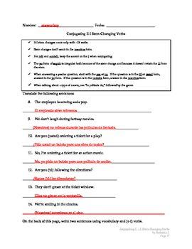 Spanish 1:  Conjugating E-I Stem-Changing Verbs