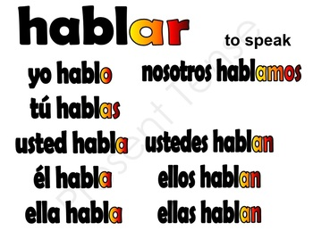 Spanish 1 Conjugation Board Toppers