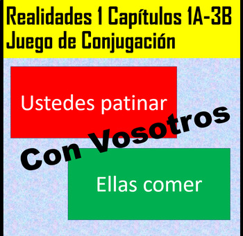 Spanish 1 Conjugation White Board Game Realidades 1 Chapters 1A-3B with Vosotros