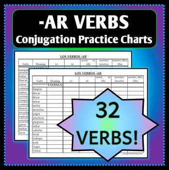 Spanish 1 - Conjugation Practice Charts for -AR verbs