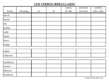 Spanish 1 - Conjugation Practice Charts for Irregular Verbs