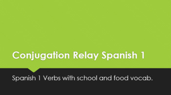 Spanish 1 Conjugation Relay Review Activity Verbs w/ Food and School Vocabulary