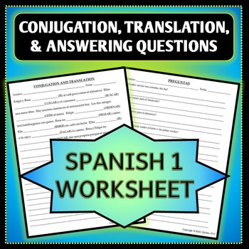 Spanish 1 - Conjugations and Translation Worksheet - Answering Questions - Food