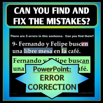 Spanish 1 - Corrections Powerpoint Slideshow - Food and -ER and -IR Verbs