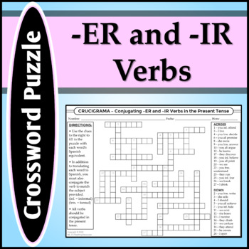 Spanish 1 - Crossword Puzzle 2 for Food Vocab & -ER and -IR Verb Definitions
