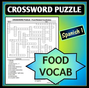 Spanish 1 - Crossword Puzzle 3 for Food-Related Vocab