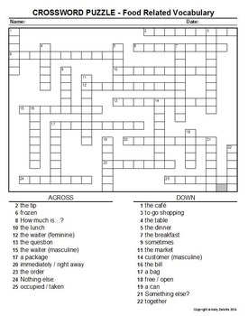 Spanish 1 - Crossword Puzzle COMBO PACK - Food Vocab & -ER and -IR Verbs