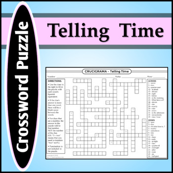 Spanish 1 - Crossword Puzzle for Classes and Telling Time