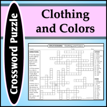 Spanish 1 - Crossword Puzzle for Colors, Clothing, and School Supplies