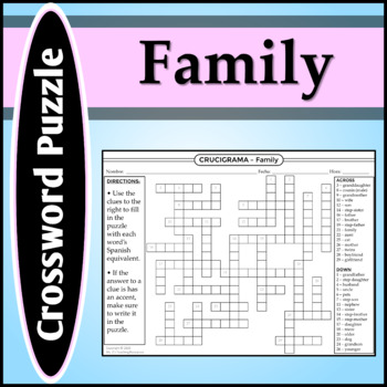 Spanish 1 - Crossword Puzzle for Family Vocab