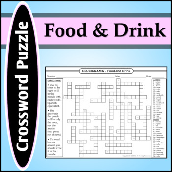 Spanish 1 - Crossword Puzzle 1 for Food Vocab & -ER and -IR Verb Definitions