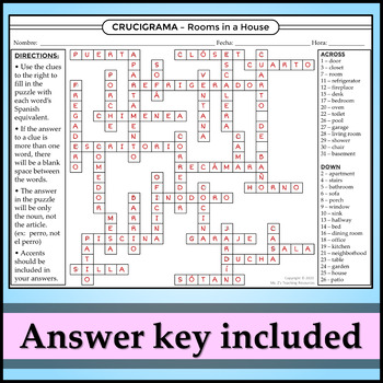 Spanish 1 - Crossword Puzzle for House Vocab