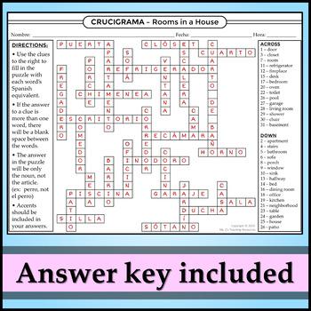 Spanish 1 - Crossword Puzzle for House Vocab