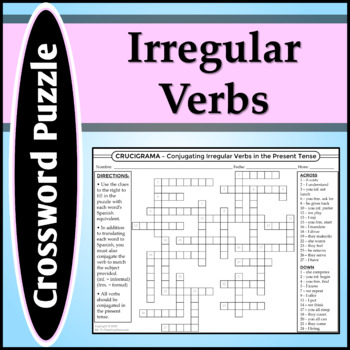 Spanish 1 - Crossword Puzzle for Irregular Verb Conjugations
