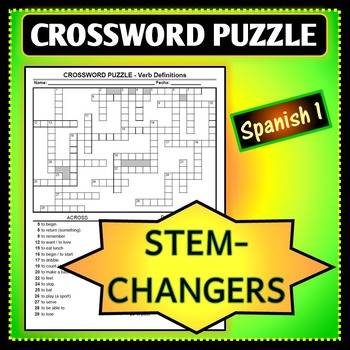 Spanish 1 - Crossword Puzzle for Stem-Changing Verb Definitions