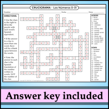 Spanish 1 - Crossword Puzzle for the Numbers 0-31