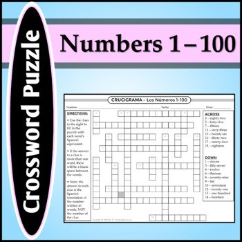 Spanish 1 - Crossword Puzzle for the Numbers 1-100