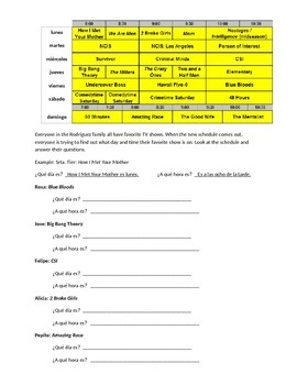 Spanish 1 Days of the Week Worksheet