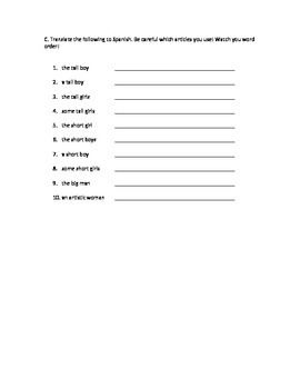 Spanish 1 - Definite / Indefinite Articles
